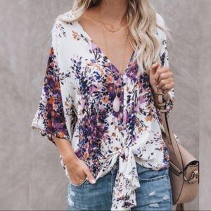 Just in! Lavender fields kimono tie top
